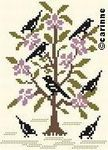 26Auplairdesoiseaux; Blackbirds in tree; could make flowers any color you want; pattern from France.