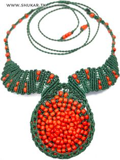 Coral reef & macrame necklace