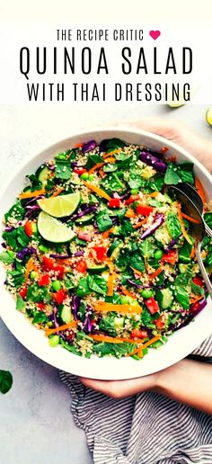 WMF Cutlery And Cookware - One Of The Most Trustworthy Cookware Producers A Healthy And Delicious Thai Quinoa Salad With Lots Of Veggies And An Amazing Dressing Ensalada Thai, Real Food Recipes, Healthy Recipes, Healthy Food, Quinoa Salad, Clean Eating Recipes, Salad Recipes, Sandwich Recipes, Food Videos