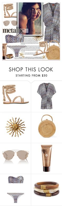 """#metallicswimwear"" by stylemeup-649 ❤ liked on Polyvore featuring Missoni Mare, Christian Dior, Guerlain, Missoni and Chico's"
