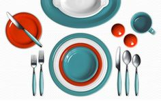 Limitless color combos! Go to the Fiesta Dinnerware site to come up with your own. This is Turquoise, Poppy and White.