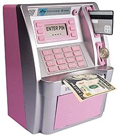 Elemusi Cartoon Electronic Password Mini ATM Piggy Bank Cash Coin Can Auto Scroll Paper Money Saving Box, for Children Kids Baby Girl Toys, Toys For Girls, Mini Things, Cool Things To Buy, Atm Bank, Money Saving Box, Minnie Mouse Toys, File Organiser, Money Bank