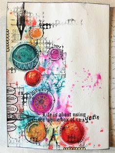 """Minas kreativa: Art journal page """"Crayons"""" - with process video"""