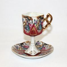 Ardalt Lenwile China Footed Cup and Saucer, Ladies in Garden