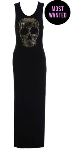 LOVE SKULL BLACK JERSEY MAXI WITH CUT OUT BACK