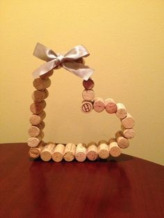Wine Cork Heart with Ribbon Wedding Decor by CelebratebyAmanda Wine Craft, Wine Cork Crafts, Wine Bottle Crafts, Wine Bottles, Bottle Candles, Valentine Decorations, Valentine Crafts, Christmas Crafts, Valentines