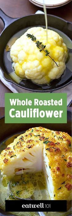 Low Carb Recipes To The Prism Weight Reduction Program Whole Roasted Cauliflower - For A Lovely Light Main Course, Or A Gorgeous Side, This Is Your New Favorite Way To Eat Cauliflower Crisp, Tender, And So Delicious Ingredien Whole Roasted Cauliflower, Cauliflower Recipes, Vegetable Recipes, Vegetarian Recipes, Vegan Cauliflower, Cauliflower Vegetable, Cauliflower Fritters, Cheesy Cauliflower, Vegetarian Lunch