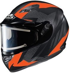 HJC Helmets CS-R3SN Treague Unisex-Adult Full Face Snow Helmet with Framed Electric Shield (Black/Neon Red, Large)
