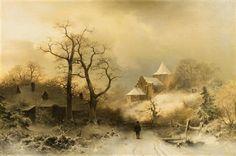 Winter Landscape by Sophus Jacobsen (1833- 1912)