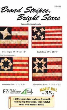 Broad Stripes Bright Stars Patriotic Flag Pieced Wall Quilt Pattern 4 Designs #Unbranded