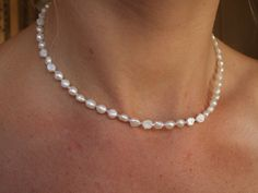 Tiny Freshwater pearl wedding necklace simple by SheRocksJewellery Small Pearl Necklace, Pearl Necklace Wedding, Bridal Bracelet, Freshwater Pearl Necklaces, Bridal Necklace, Simple Necklace, Pearl Bridal, Bridal Jewelry, Pearl Jewelry