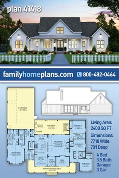 This perfectly balanced farmhouse plan is new to our house plan collection, but it is getting lots of attention on social media. A four bedroom home with 2400 sq ft of living space and 734 sq ft of covered porch, this floor plan is appealing to many. Offering an open layout with generously sized rooms and plenty of outdoor entertaining space, this will likely be a bestselling farmhouse plan before too long. @familyhomeplans #houseplans #countryhouse #farmhouse #farmhouseideas #buildingplans Ranch House Plans, New House Plans, Dream House Plans, House Floor Plans, Modern Farmhouse Plans, Farmhouse Design, Farmhouse Style, Building A New Home, Building Plans