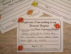 Personal Progress  Reminder Cards