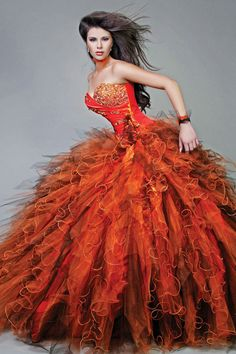 Sweetheart Ruffles Long Beaded Strapless Orange Quinceanera Dresses