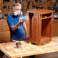 Spray on the Final Coat - 20 Wood Finishing Tips: http://www.familyhandyman.com/woodworking/staining-wood/wood-finishing-tips