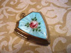 Vintage Gold Filled Guilloche Enamel Shield by charmingellie