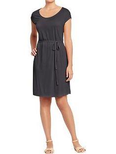 Womens Tie-Belt Jersey Dresses