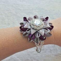 Purple and Silver Corsage Flower Purple Wrist by PetalPerceptions