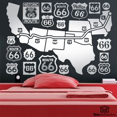 Wandtattoos Route 66 Road Map