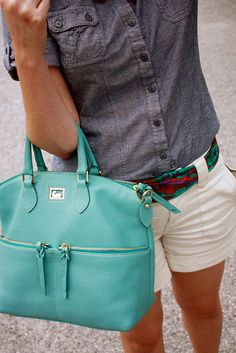 super cute! Dooney and Bourke Dillen Pocket Satchel in aqua I am totally into this color for purses and clothes