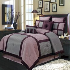 Morgan Purple Luxury 12-Piece Bed in a Bag offers a modern, tailored look that creates an aura of calmness in any bedroom. nature-inspired colors in shades of Purple and Gray. bold color blocking for strong design impact. all the pieces you need for a flawlessly decorated bed. 100% Polyester Machine Washable/very nice bedding