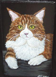 Maine Coon Cat Orange tabby Original by daniellesoriginals on Etsy, $24.00