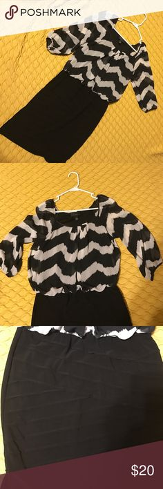 Black and white blouson special occasion dress. Black and white dress barn dress. Top is blousy and bottom fits like a pencil skirt. Worn once. Dress Barn Dresses Long Sleeve