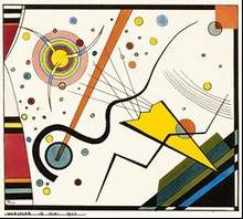 Bauhaus    Wassily Kandinsky's dramatic composition shows a structure of conflicting colors, shapes and energies. A yellow triangle - a relic of the horn - comes from the slope of the window sill to the center. Line bundle set by shooting across many barriers blocking movement continues diagonally until it is left up lost in a system of floating quietly circles.