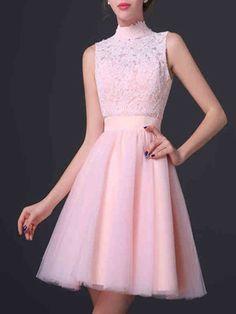 Short homecoming dress,high neck homecoming dress,pink homecoming dress,lace homecoming dress,simple homecoming dress.homecoming dress for teens,lovely homecoming dressPD0008300