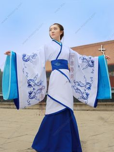 Rayon White Curved Hem Dress Wide Sleeves Han Dynasty Hanfu Clothing Dynasty Clothing, Hanfu, Cheongsam, Oriental Dress, Asian Fashion, Chinese Fashion, Yukata Kimono, Chinese Clothing, Chinese Culture