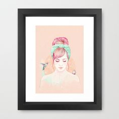 Pink hair lady Framed Art Print by Ariana Perez - $34.00