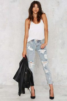 One Teaspoon Awesome Baggies Distressed Denim - Clothes | Distressed