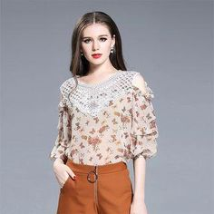 YesStyle - Seagrass Cutout Shoulder Panel Printed Chiffon Top - AdoreWe.com