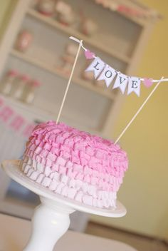 """Valentine's Day Spa Party - """"Love"""" Bunting on Pink Ombre Ruffle Cake Cupcakes, Cupcake Cakes, Valentines Day Cakes, My Funny Valentine, Pretty Cakes, Beautiful Cakes, Pink Ruffle Cake, Ruffled Cake, Ruffles"""