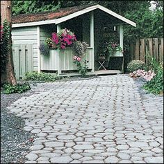 Walkway mold patio DIY - Cute.  This would work outside our back door.