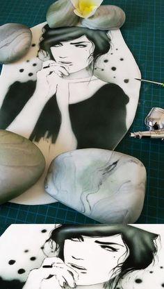 Airbrush portrait - Cake by Berna García / Ilusiona Cakes