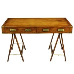 1stdibs - Early 1900s Campaign Desk With Tooled Leather Top explore items from 1,700  global dealers at 1stdibs.com