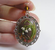 Snowdrops Pendant   Handmade Polymer Clay by TheClayFlorist, £24.99