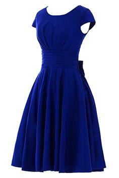 Sunvary Short Sleeves Bridesmaid Dress Evening Pageant Dress Short Size 2- Royal Blue