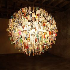 Tide Chandelier, is composed of man-made debris that washed up on a specific stretch of Kent (England) coastline and that Stuart Haygarth had been collecting for years