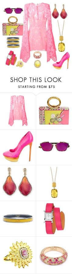 """""""Pink and Yellow"""" by jeniferkcarsrud ❤ liked on Polyvore featuring Alex Perry, Emilio Pucci, Brian Atwood, Christian Dior, Silvia Furmanovich, Effy Jewelry, Hermès and Cartier"""