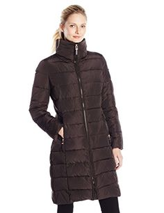 Calvin Klein Womens Long Down Coat  No Fur Espresso Medium * Read more reviews of the product by visiting the link on the image.