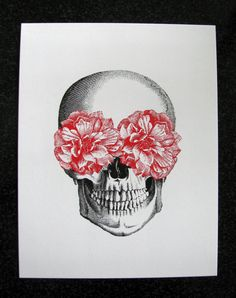 Hey, I found this really awesome Etsy listing at http://www.etsy.com/listing/153568402/floral-skull-art-print-mixed-media
