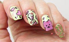 Green Pusheen Nails for FingerFood's Theme Buffet #8 Cute