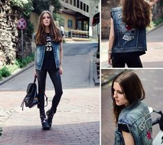 #neonrock #leather #denim #gypsywarrior #sheinside #asos #vest #rocker #streetstyle