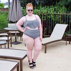 88ba5aa21a Loving the retro gingham print bikini on Liz withwonderandwhimsy   AFMSwimSquad Plus Size Bikini