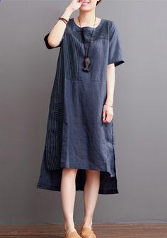 2016 Navy linen dresses for summer patchwork asymmetrical desgin sundress