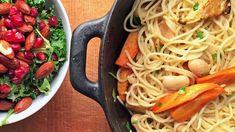 Spagetti med bakte røtter og limabønner