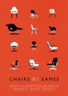 While we would really enjoy having one of Eames' chairs in our living room, for now, we'll have to settle for the living room wall with this poster of his iconic designs from Weavers of Southsea on Etsy. #Eames