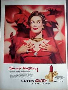 Lady in Red Cutex Red Lipstick Red Nail Polish 1954 Ad | eBay ~ My cousin and I bought this color and painted our Lee Press-On Nails.
